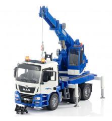 Dźwig MAN niebieski z modułem świetlno-dźwiękowym Bruder 03770