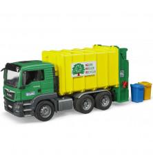 Śmieciarka MAN z tylnym załadunkiem i koszami na śmieci Bruder 03764
